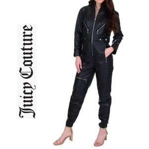 $1,400 JUICY COUTURE Black Label Leather Jumpsuit